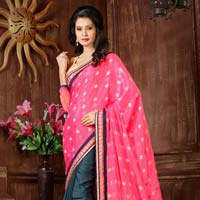 Chinon Jacquard Fancy Beautiful Saree