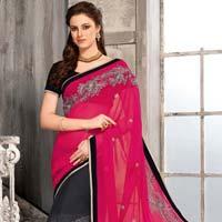 Pink Gray Black Beautiful Saree