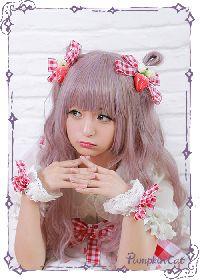 Pumpkin Cat Sweet Red White Gingham Lolita Hairclip