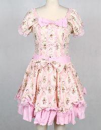 Short Pink Cotton Square-collar Short Sleeve Floral Sweet Lolita Dress