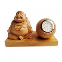 Wooden Laughing Buddha Statues