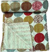 Cotton Printed Kantha Work Quilt