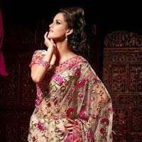 Beige Saree With Pink Embroidery