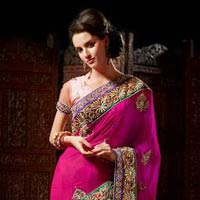 Pink And Peach Wedding Embroidery Saree