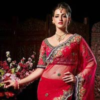 Red Wedding Saree With Embroidery