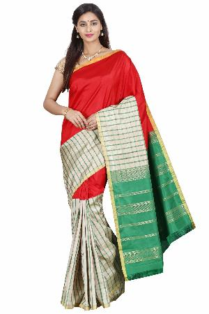 Half and Half Handloom Pure Silk Saree