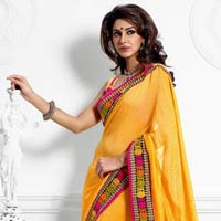 Dazzling Diva Yellow Embroidered Saree