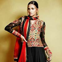 Lush Black Embroidered Anarkali Suit