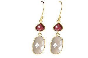 SME 727 semi precious stones Silver Earring