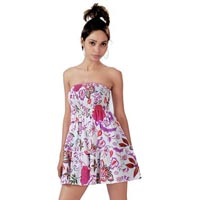 Printed Cotton Bustier Smock Dress
