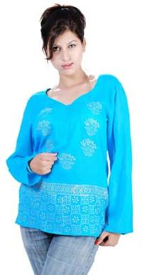 Printed Cotton Long Sleeve Top(code :- T-235)