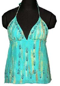 Silk Hand Embroidered Tie Dye Halter Neck Top