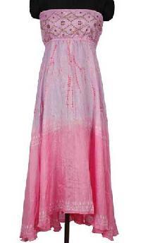 Silk Hand Tie Dye Beaded Bustier Long Dress