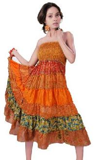 Vintage Sari Bustier Dress Vsg-02