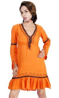 Viscose Rayon Embroidered Dress