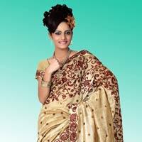 Beige Bhagalpuri Pure Silk Saree With Unstitched Blouse