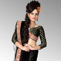 Bollywood Black Net Saree With Unstitched Blouse