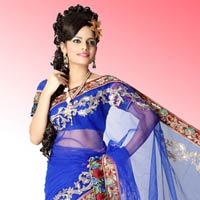 Bollywood Royal Blue Net Saree With Unstitched Blouse