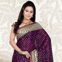 Purple Viscose Saree With Unstitched Blouse