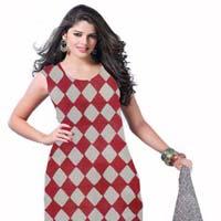 Kcsk001 - Bagru Printed Salwar Kameez With Chiffon Dupatta - Half White Red & Black