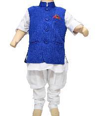 Kids White Cotton Kurta Pajama