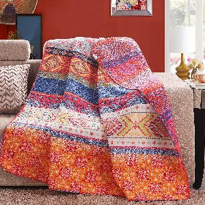Reversible 125 x 150cm Cotton Multicolored Boho Quilted Throw Blankets