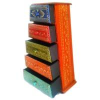 Wooden Tepper 5 Drawer Box