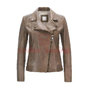 Regular Fit Leather Jacket with Asymmetric Zip
