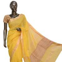 Lemon Yellow Jute & Zari Maheshwari Silk Saree (design No. S0007)