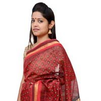 Red & Green, Print Maheshwari Silk Saree (design No. S0020)