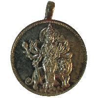 Goddess Durga On Her Carrier Lion Copper Pendant - A3089