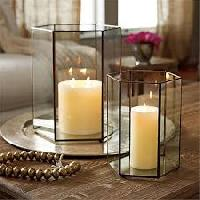 Brass & Glass Hurricane Candle Holders