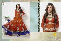 Embroidered Semi Stitched Long Anarkali Suits