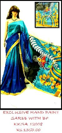 Hand paint Soft Cotton Saree by skilled artisans of India
