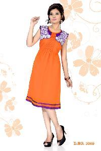 Orange Color Fancy Party Wear Kurtis