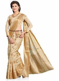 Meghdoot Beige Art Tussar Silk Woven Saree
