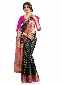 Black and Pink Colour Art Silk Woven Saree