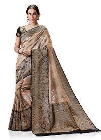 Meghdoot Black Kanchipuram Woven Spun Silk Saree