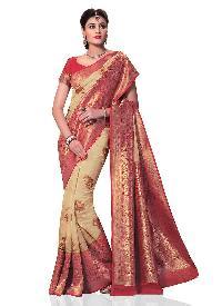 Pink Woven Kanchipuram Spun Silk Saree