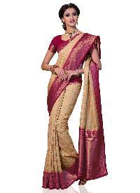 Pink Kanchipuram Spun Silk Saree