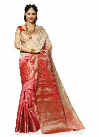 Beige and Red Colour Traditional Woven Art Silk Saree