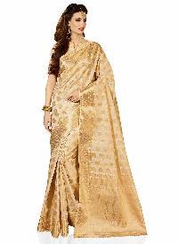 Beige Art Tussar Silk Traditional Woven Saree