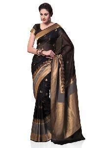Black and Grey Kanchipuram Spun Silk Woven Saree