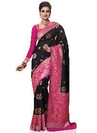 Meghdoot Black and Pink Kanchipuram Spun Silk Woven Saree