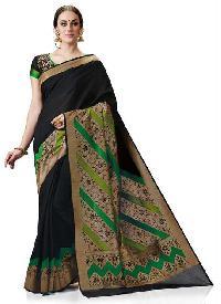 Meghdoot Black Colour Kanchipuram Spun Silk Woven Saree