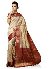 Cream Art Silk Woven Saree