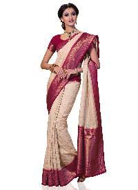 Meghdoot Cream And Pink Colour Kanchipuram Spun Silk Woven Saree