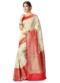 Cream and Red Colour Kanchipuram Spun Silk Woven Saree