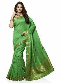 Green Traditional Art Tussar Silk Woven Saree