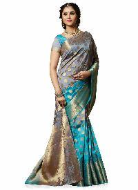 Turquoise Blue Colour Art Tussar Silk Woven Saree